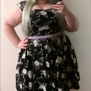 Natalia Hell Bunny Black Floral Dress